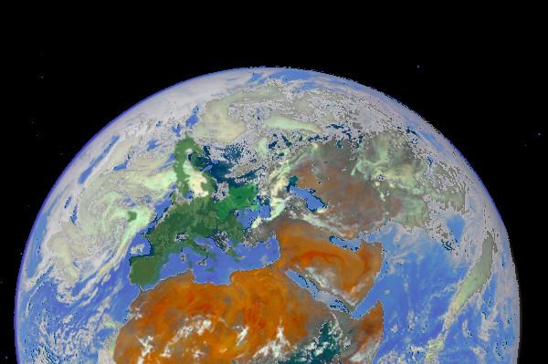 Площадь Украины и Европейского союза на Земном шаре в Космосе.