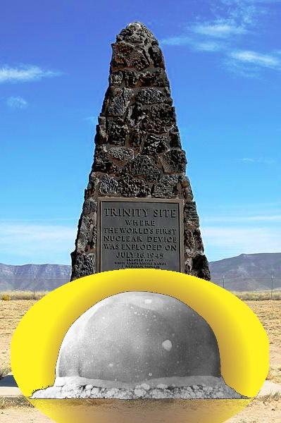 Обелиск на месте первого на Земле ядерного взрыва и сам ядерный взрыв через 16 миллисекунд - светящаяся сфера.